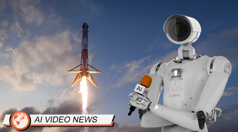 Robot newscaster reporting on Elon's SpaceX Falcon Heavy's boosters